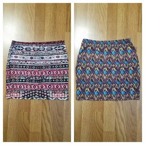 2 bodycon skirts colorful mini skirts